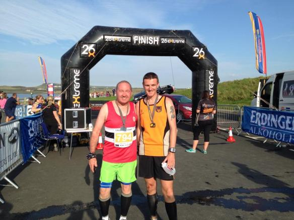 Dermot and Paul completing the 10k and half marathon in Irelands causeways coast last year
